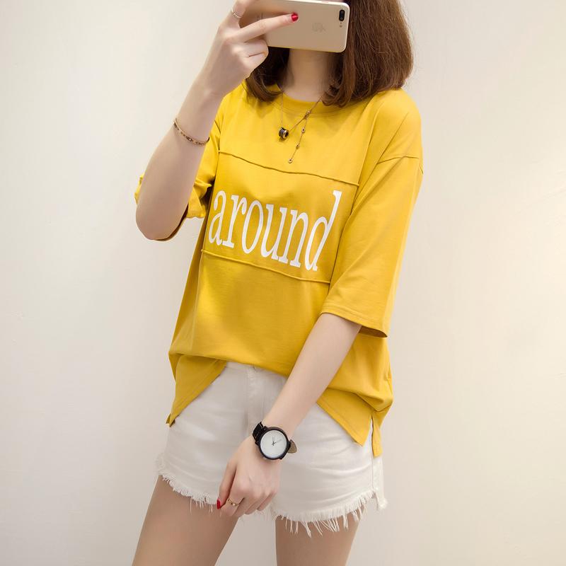 棉短袖t恤女夏2018韩版宽松拼接贴布印花大码显瘦体恤衫