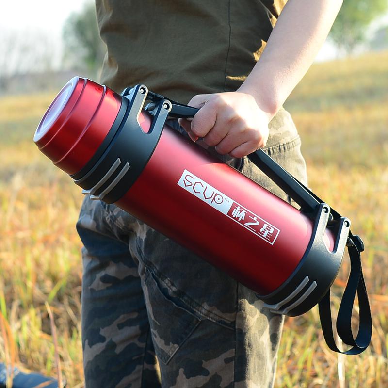 Кубок Star Изоляция Горшок из нержавеющей стали Кружка Открытый бытовой чайник Большая емкость Портативный Travel Thermos 2 L