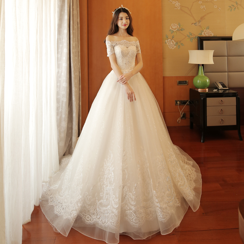 461d0b39f3 Word shoulder wedding dress 2019 New trailing bride dress out of the  Princess simple pregnant women Qi wedding large size