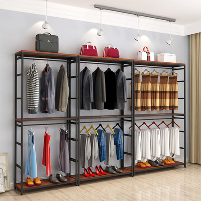 New Chinese combination hanging frame storage frame bedroom multi-function clothing display frame floor hanger household double layer