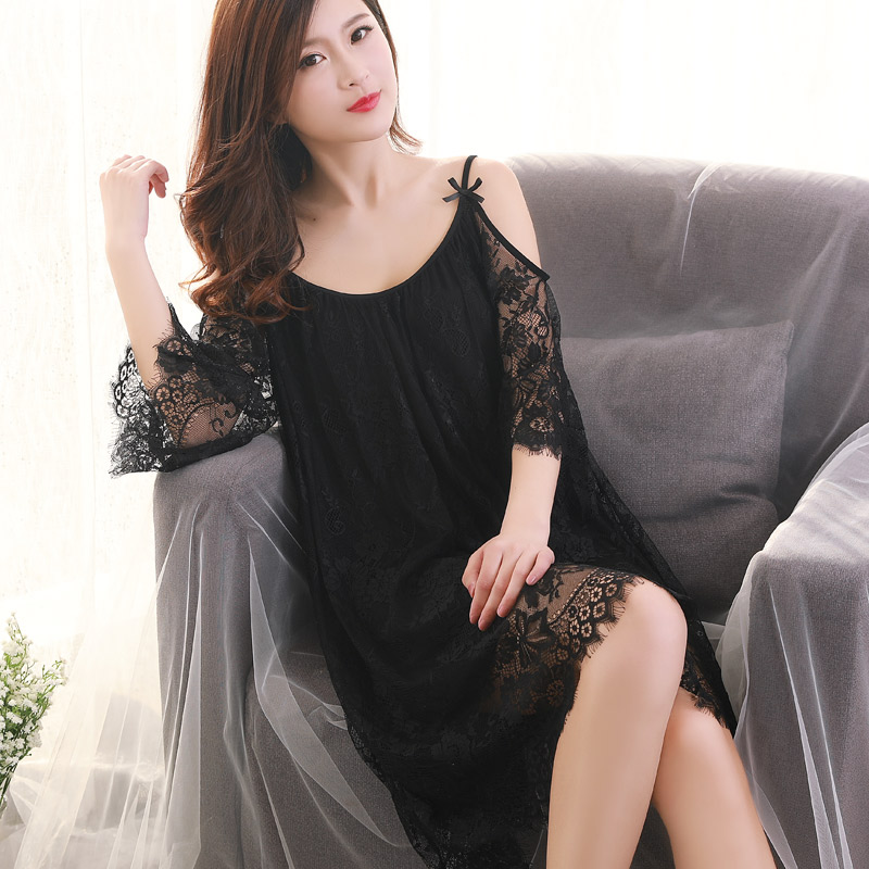 fe839ec8215 Black and white nightdress Girl Summer short-sleeved sexy pajamas summer  tulle large size loose lace new spring and autumn and winter