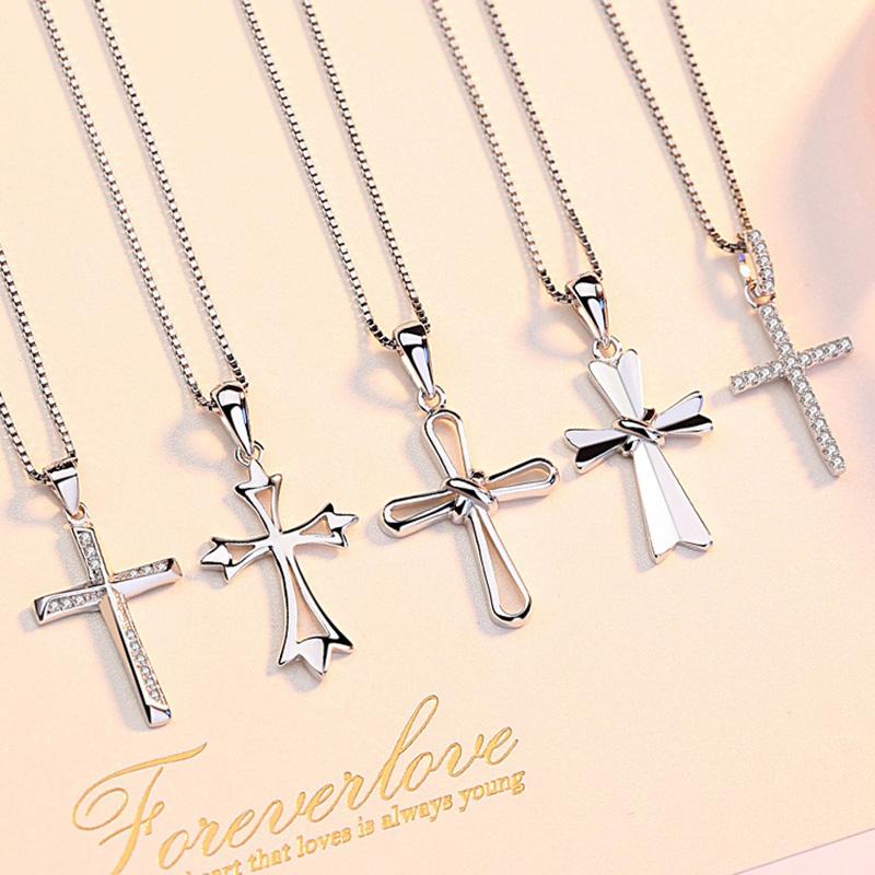 十字架項鏈女鎖骨鏈純銀吊墜耶穌基督教小眾設計個性禮物送女朋友