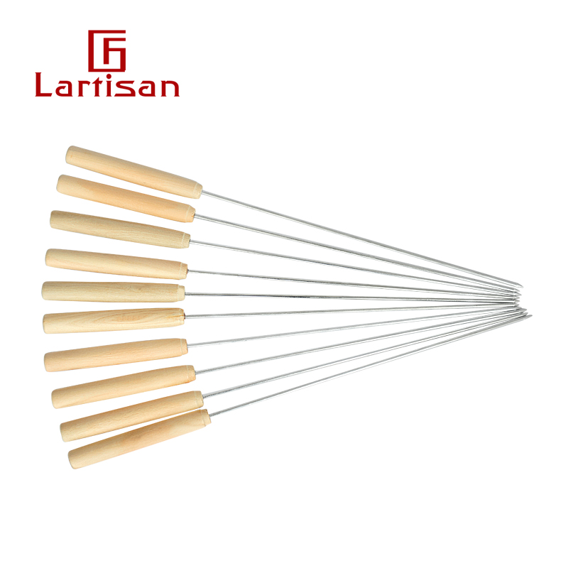 lartisan wooden handle stainless steel baking needle barbecue check round check accessories barbecue grill skewers 10