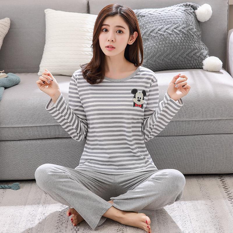 睡衣女士纯棉长袖韩版卡通春秋季长裤冬季家居服学生薄款两件套装