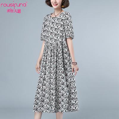 时尚洋气泡泡袖碎花连衣裙大码胖mm女士夏季2020新款遮肚印花裙子