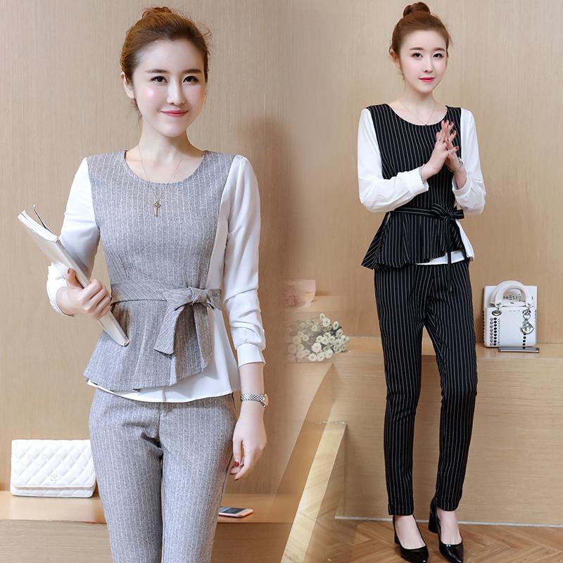 2018春秋季新款条纹长袖上衣长裤韩版名媛气质修身时尚两件套装女