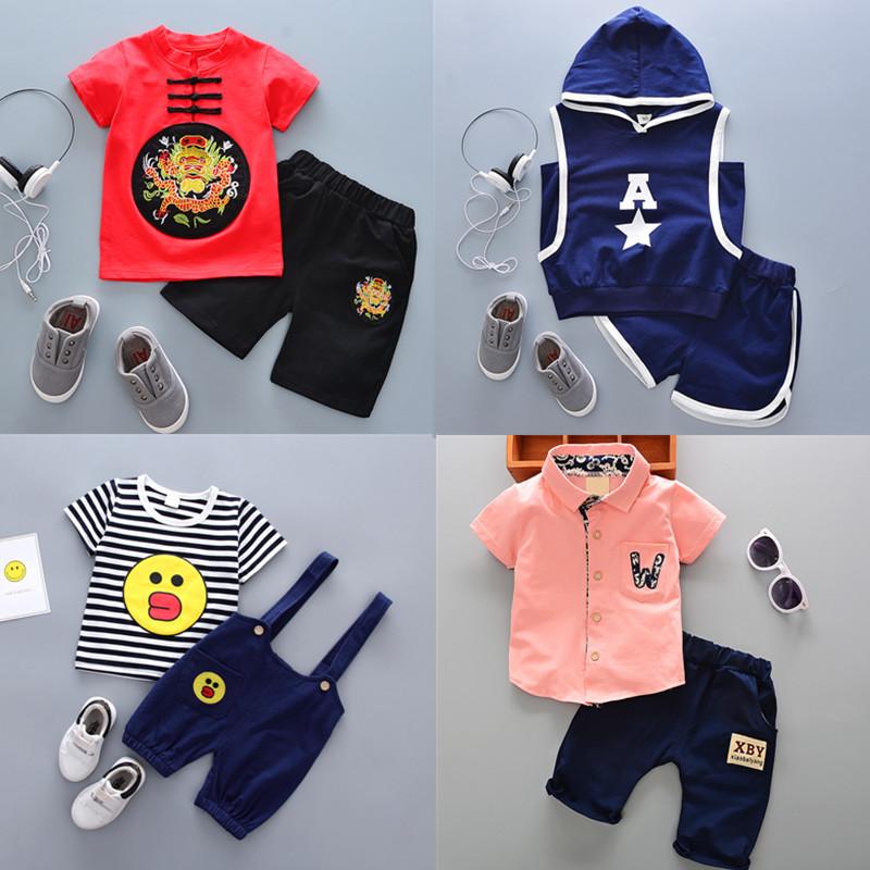 童装2019夏季新款男童女宝宝1-3-4-5岁儿童短袖套装儿童衣服夏装