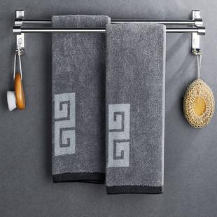 免打孔毛巾架卫生间浴室壁挂置物挂架厕所洗手间太空铝单杆带挂钩