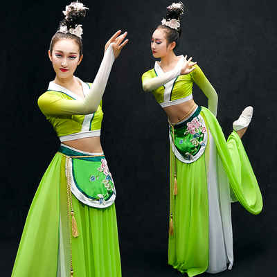 Chinese Folk Dance Costumes Classical Dance Costume Chinese Wind Adult Umbrella Dance Modern Dance Costume Long Skirt Fairy