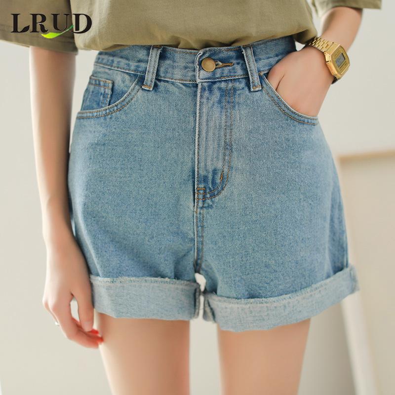 LRUD ковбой шорты женщина лето 2018 весна женщины новый корейский высокая талия брюки сын широкий брюки джинсы горячей брюки