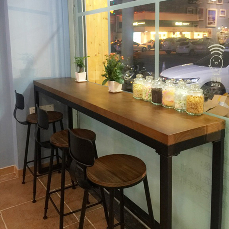 Wrought Iron Starbucks Tables And Chairs Leisure Cafe Bar Strip Solid Wood Against The Wall Table Window High