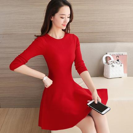 连衣裙中长款韩版圆领长袖毛衣裙修身女裙子