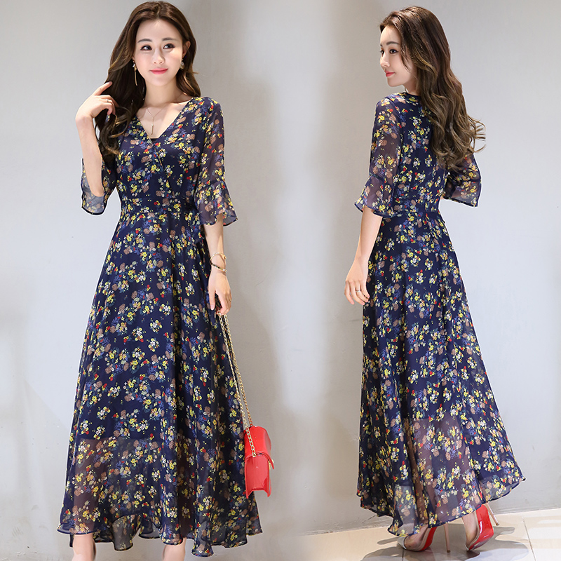 493d32be6591 Floral chiffon dress popular women s dress 2019 summer New temperament  Korean summer long skirt tide