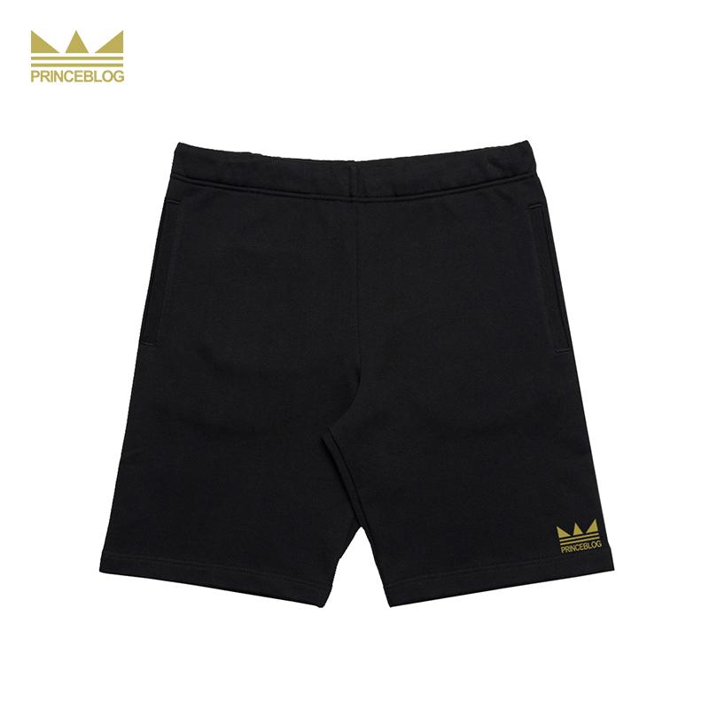 PrinceBlog mới hàng ngày sinh viên thủy triều đơn giản thể thao màu đen vương miện in logo áo thun phù hợp với quần short - Quần short