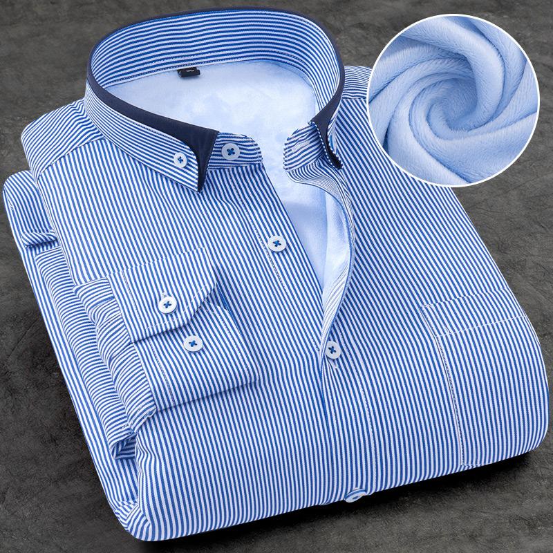 冬季男士保暖衬衫大码商务休闲职业正装纯色条纹长袖加绒加厚衬衣