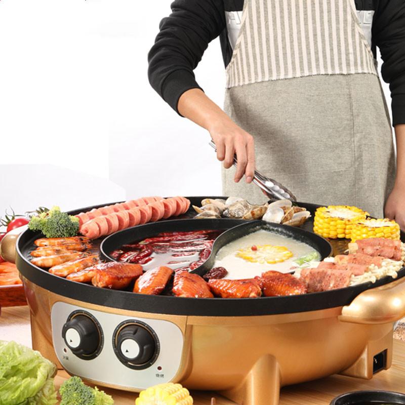 烧烤炉家用电烤盘韩式无烟涮烤火锅烧烤一体锅多功能不粘烤肉机炉