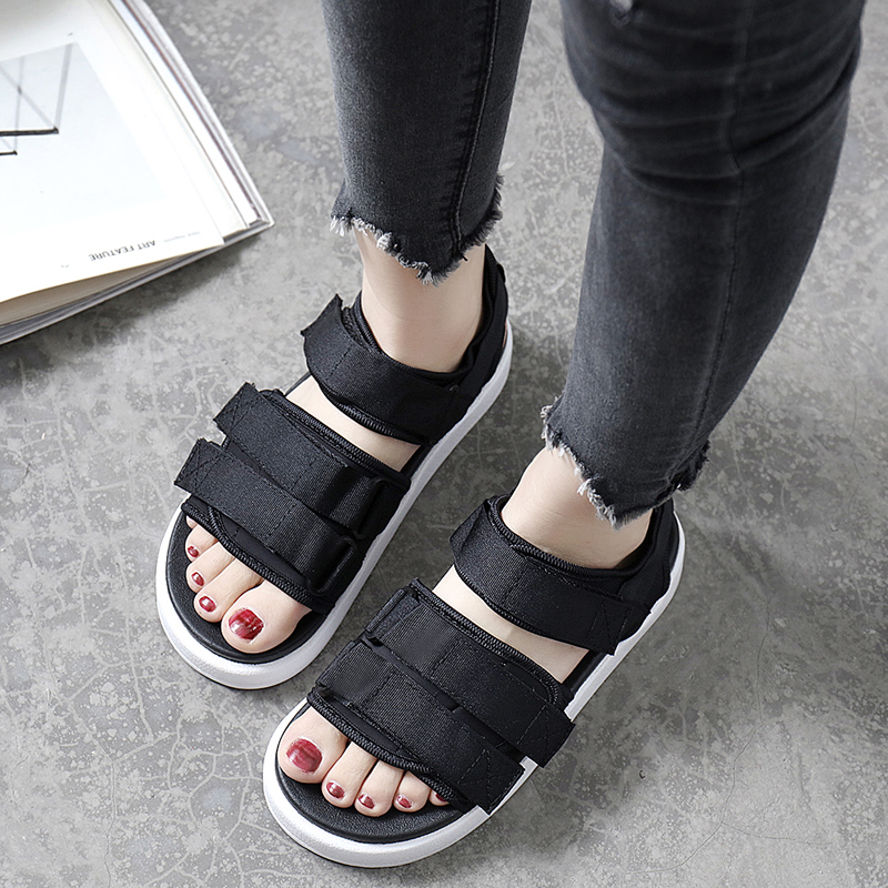 d487900a9c6b69 Street sports sandals female beach shoes soft sister simple cute student Velcro  thick bottom flat summer holiday yards