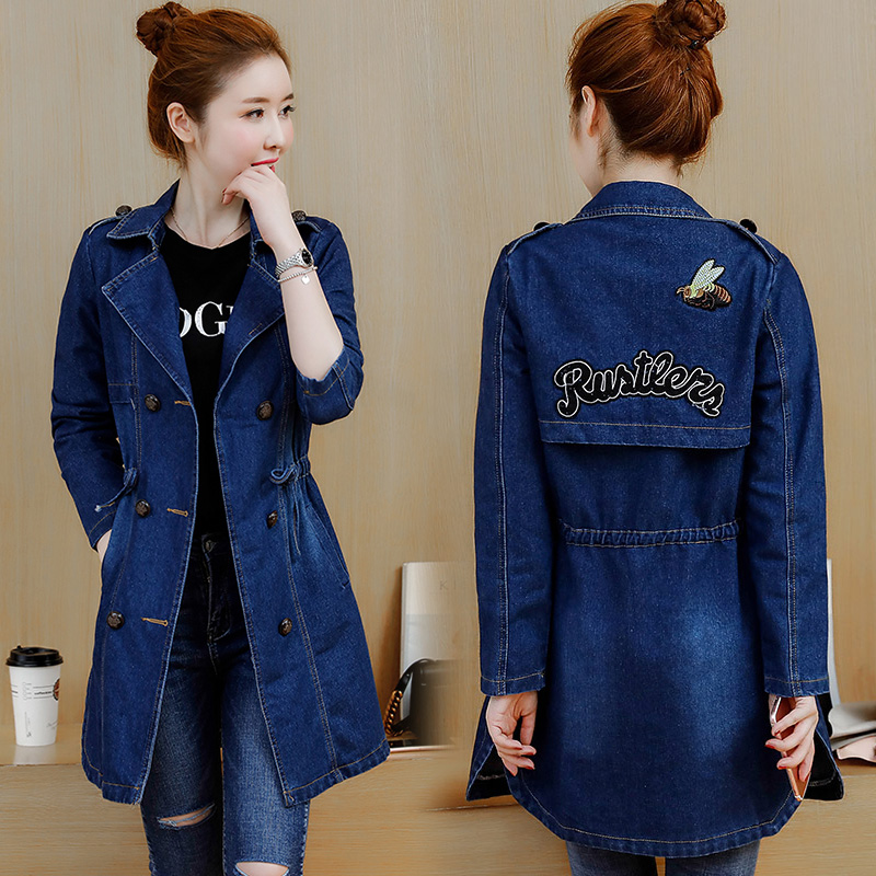2018 new spring Korean fashion slim slimming long windbreaker long-sleeved denim jacket female wild waist tide
