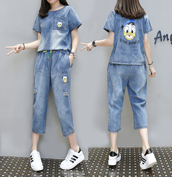 2018 short-sleeved fashion denim casual suit two sets of seven pants hole spring and summer Korean version of the new large size women