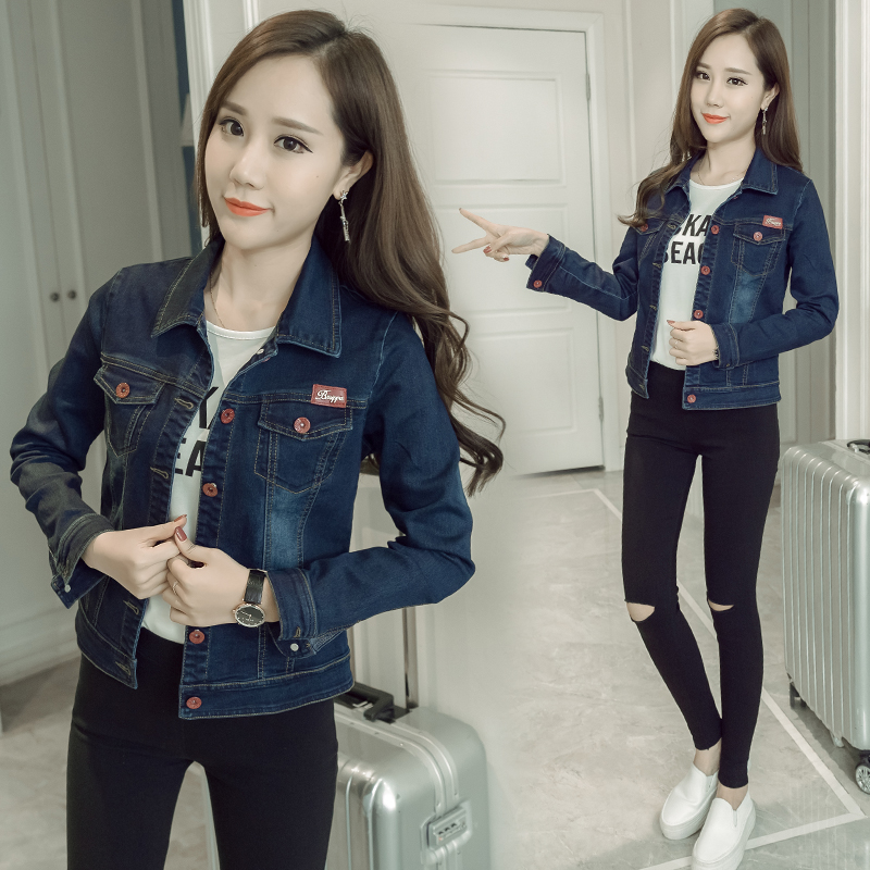 Denim jacket short paragraph female 2017 autumn new Korean version of the thin cowboy jacket tide BF student slim jacket
