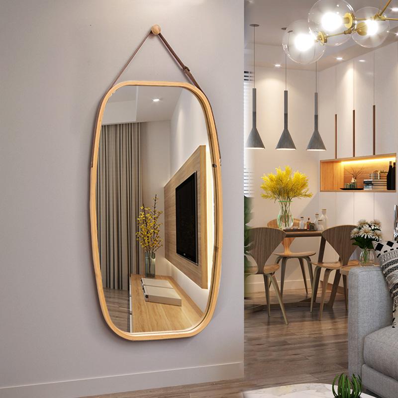 镜子贴墙壁挂圆镜子落地镜镜子全身穿衣镜挂镜欧式试衣镜全身镜女