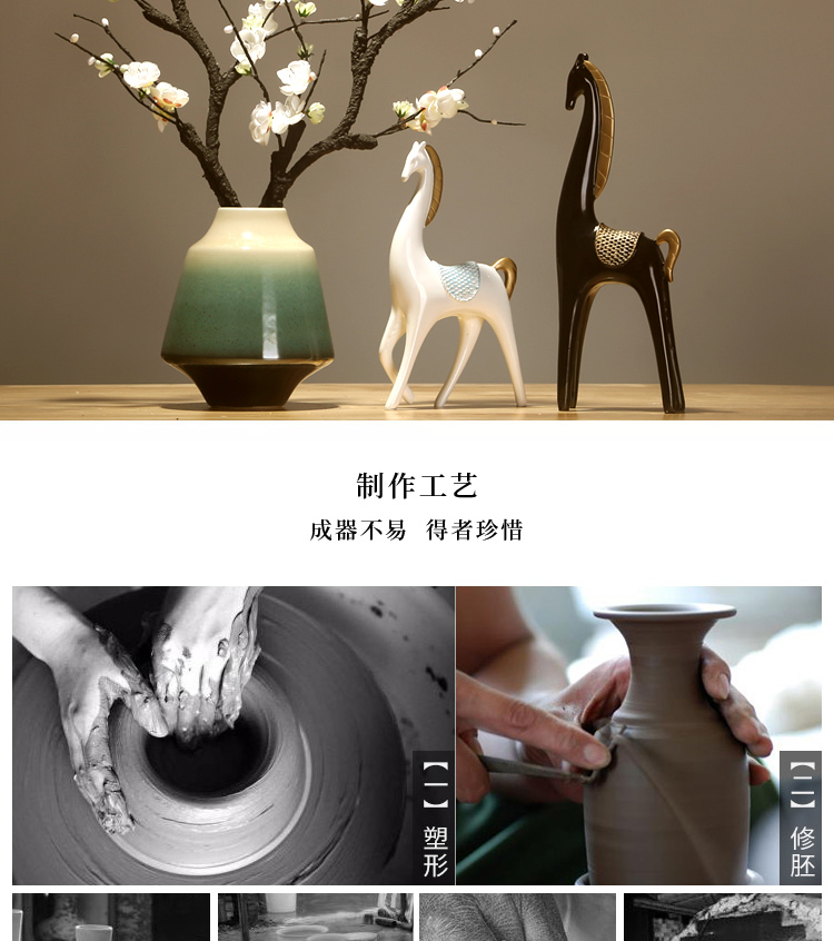 Jingdezhen ceramics by hand celadon vase modern new Chinese style living room porch household dry flower arranging flowers is placed