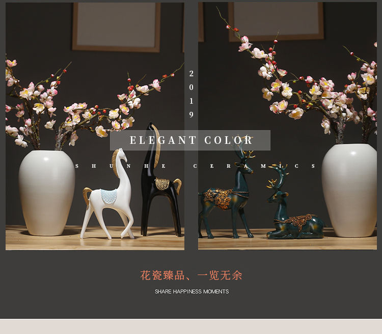 Jingdezhen ceramics vase white sitting room porch place simulation dried flowers flower arrangement suits for Chinese study