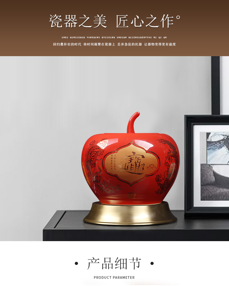 Jingdezhen ceramics of the sitting room porch decoration of the new Chinese style furnishing articles China red apple with cover storage tank vase