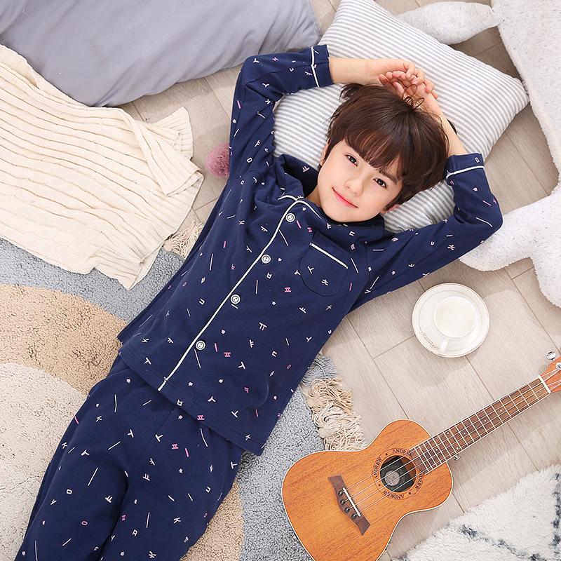 儿童睡衣男孩男童春秋长袖纯棉中大童全棉薄款夏季家居服小孩套装