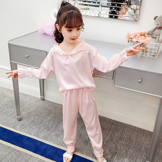 Children's pajamas summer thin girls ice silk baby silk baby princess lapel spring and autumn home service suit