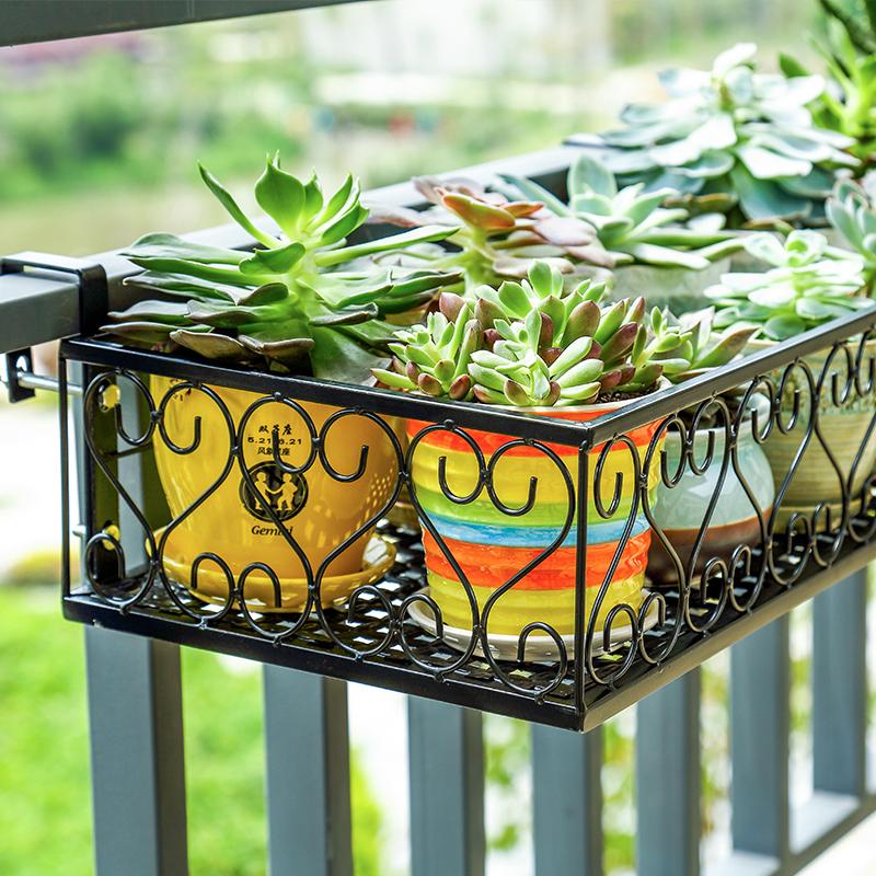 European Wrought Iron Balcony Railing Flower Shelf Indoor Window Guardrail Hanging Multi Layer Pot Rack Green
