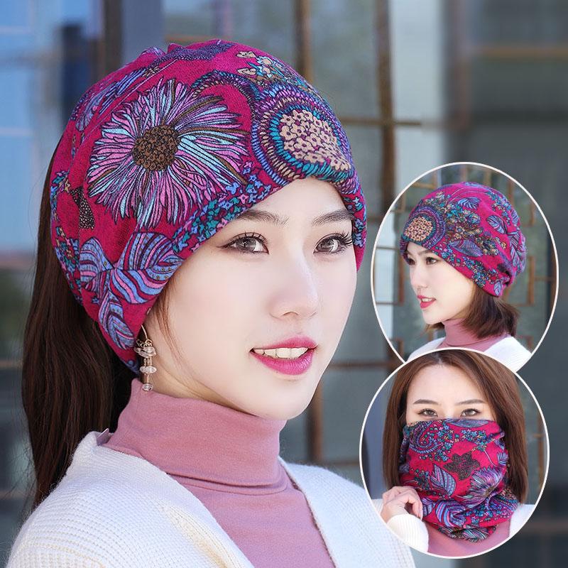 头巾女帽子韩版多功能秋冬帽包头套头帽脖套帽花朵防风帽扎马尾帽