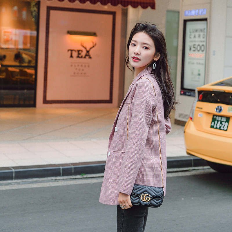 Pink plaid mini-suit jacket schoolgirl Korean version 2019 new spring short loose casual chic suit