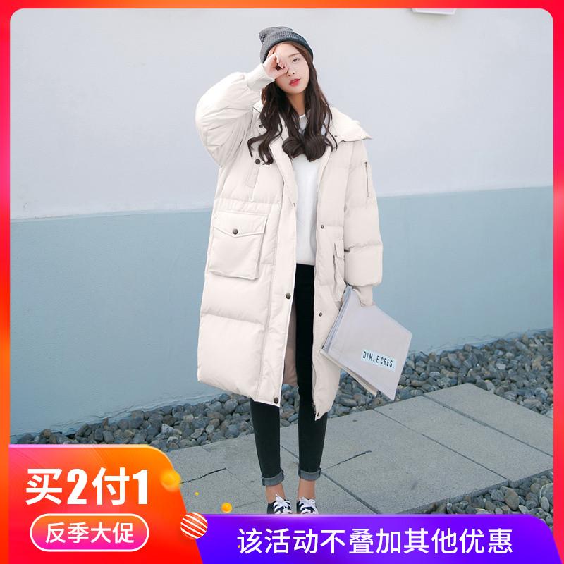 爆款反季面包羽绒棉服女中长款2019新款韩版宽松棉衣棉袄外套冬季