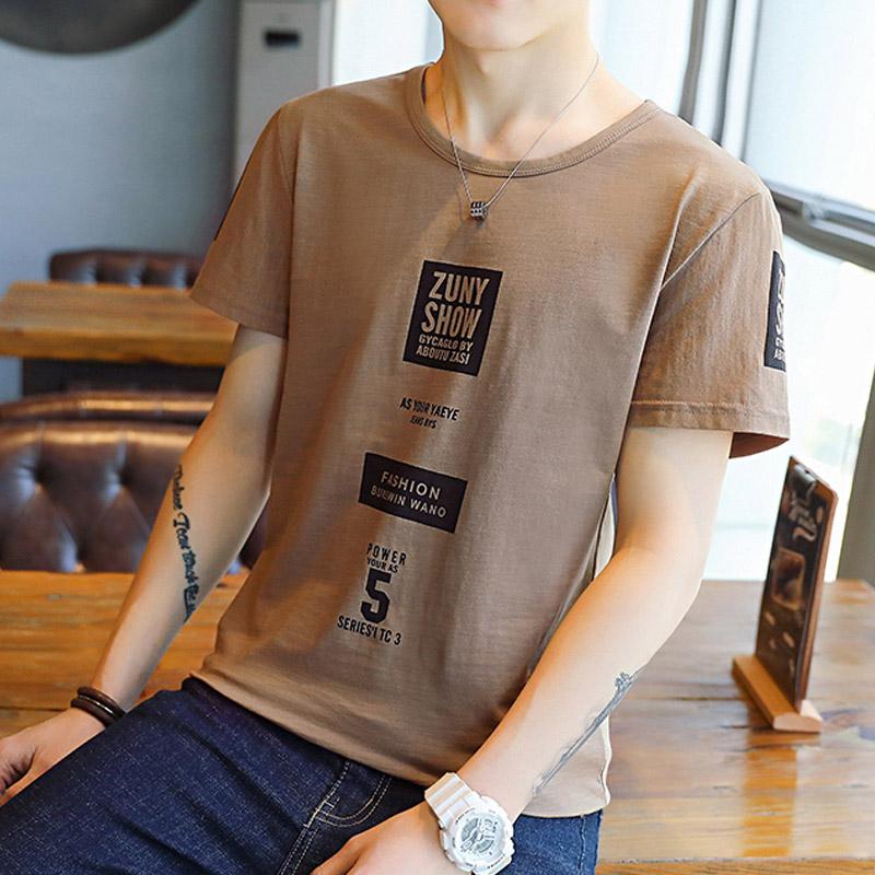 INS印花夏季男士短袖t恤圆领体恤小清新韩版修身上衣夏装半袖男装