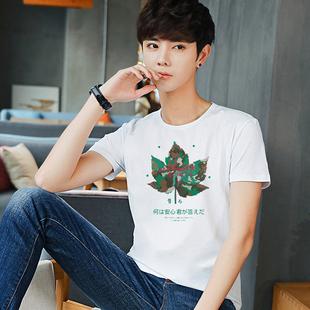 INS夏季韩版印花男士t恤男短袖