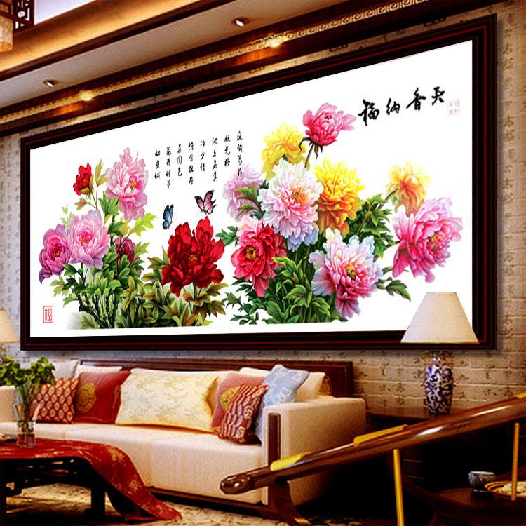 蒙娜丽莎十字绣牡丹花开富贵新款大幅客厅印花十字绣天香纳福系列