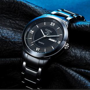 欧派黑色陶瓷手表男士时尚潮流夜光