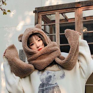 缇米芬围巾帽子手套三件套一体甜美可爱女学生冬季羊羔毛围脖套
