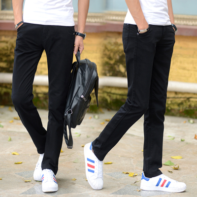 Summer casual pants men's thin section Slim youth straight men's autumn thick section trousers business casual cloth pants trousers