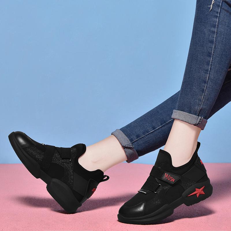 法国大黑色乐卡克公鸡妈妈运动鞋2018新款秋冬季舒适女士软底v黑色