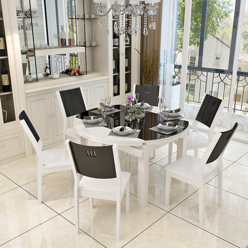 Simple modern size apartment tempered glass one table four ...