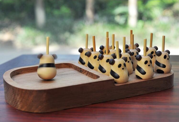 萌木亲子亲子儿童玩具创意熊猫木质手转陀螺成人减压四川旅游纪念礼品礼物