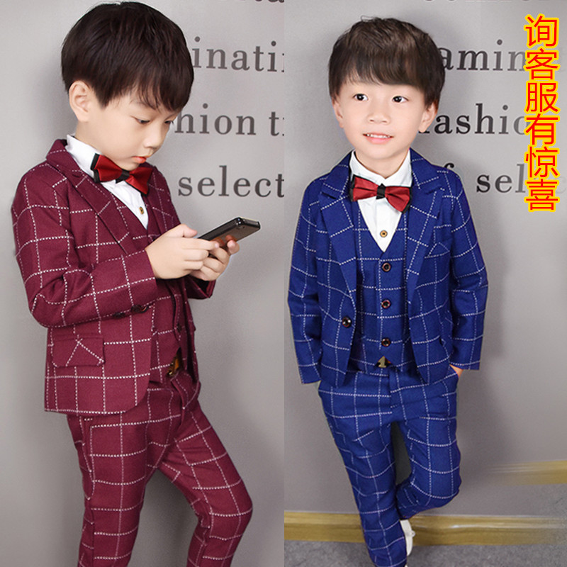 223cabca Boy Suit Suit 5 Plus velvet 6 children vest dress 7 male 3 three sets of 4- year-old British baby flower girl 2 tide
