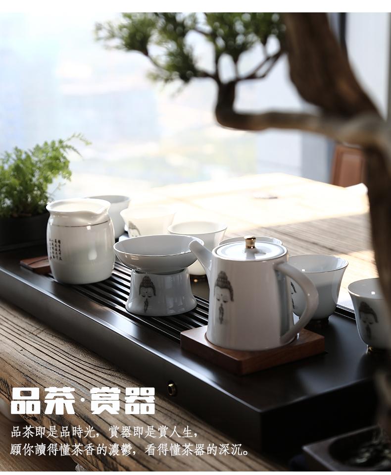 一品仟堂 彩绘白瓷茶具套装 中式创意陶瓷盖碗功夫茶具整套礼盒装