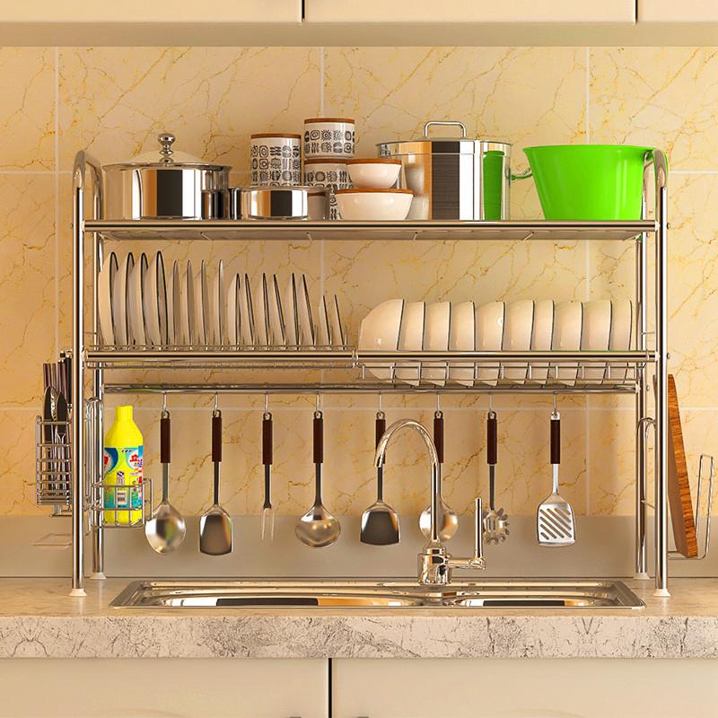 USD 75.91] Meijie kitchen sink rack 304 stainless steel dish rack ...