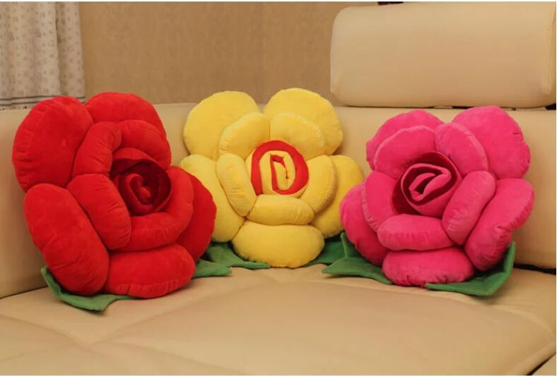 卡通玫瑰花抱枕靠墊 沙發靠墊裝飾花朵抱枕 汽車床頭抱枕靠背『舒心生活』