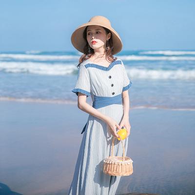 2020夏季新款裙子仙女超仙森系收腰显瘦气质法式复古显瘦连衣裙女