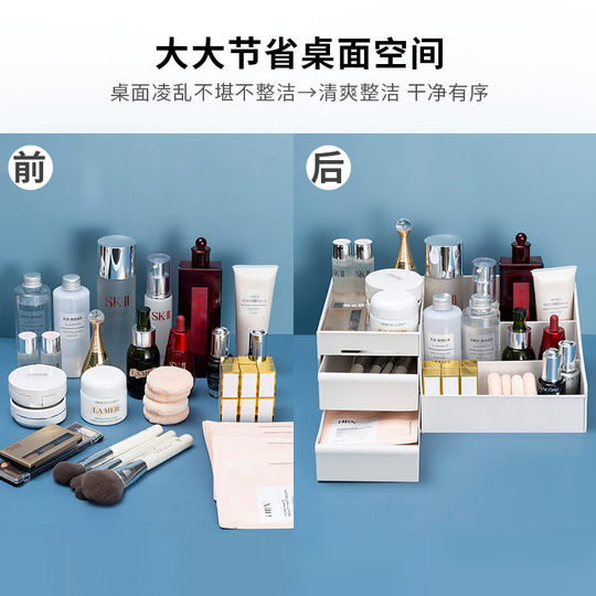 Cosmetic storage box desktop storage artifact lipstick skin care product rack dormitory plastic dressing table makeup box