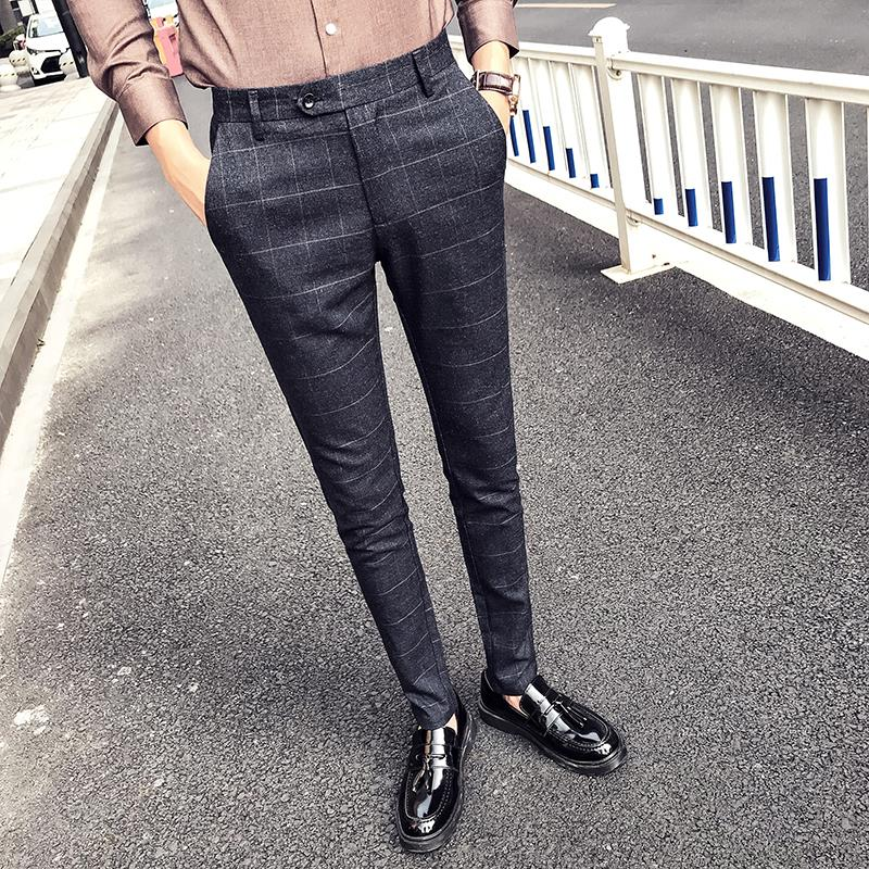 74fec8955b11 Hong Kong Tide brand yuppie gentleman style trousers men s pants youth  casual pants Korean slim long pants British